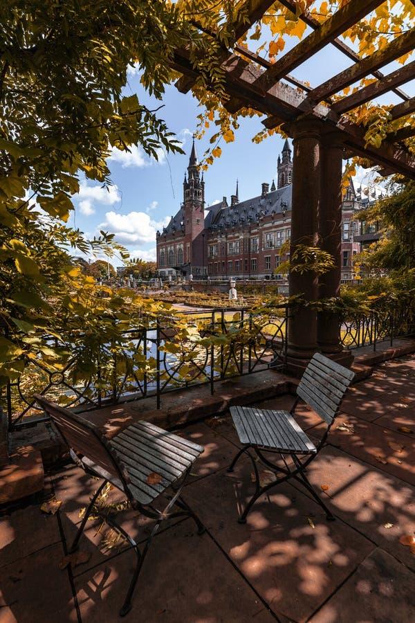 Peace Palace garden in Autumn stock image