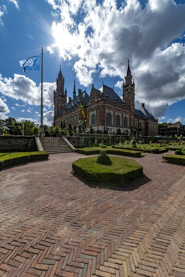 Peace Palace garden in summer stock images