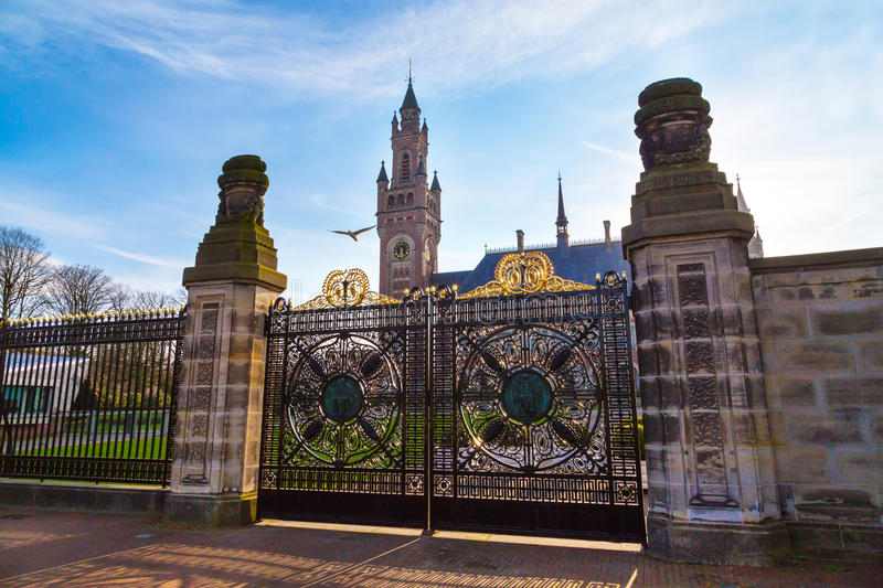 Peace Palace and gate at Hague, Netherlands during sunset stock images