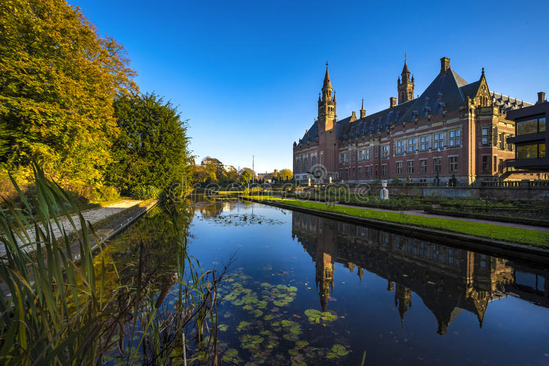 Peace Palace. Pond of the Peace Palace Seat of the International Court of Justice, principal organ of the United Nations located in The Hague, Netherlands stock image