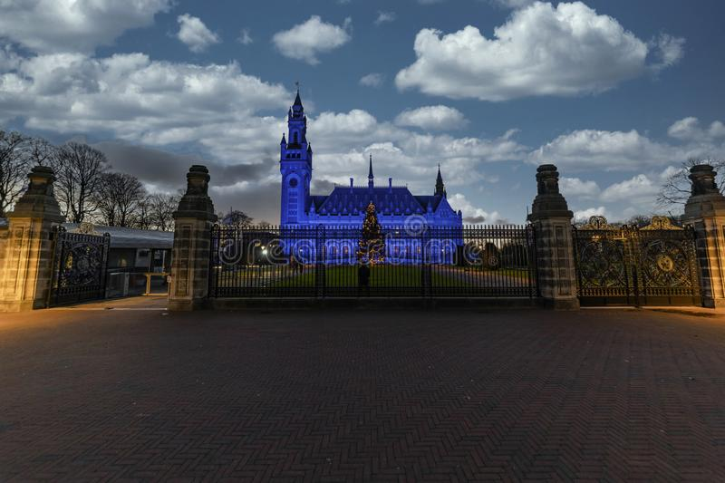 Peace Palace at the sunset royalty free stock photo