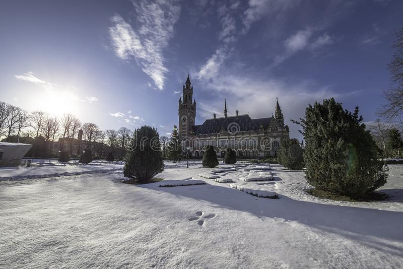Peace Palace, Vredespaleis, garden under the snow stock photo