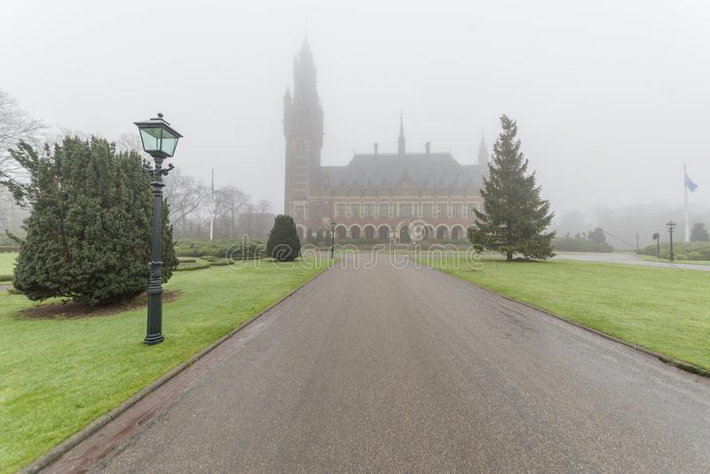 Peace Palace, Vredespaleis, under the mist stock images