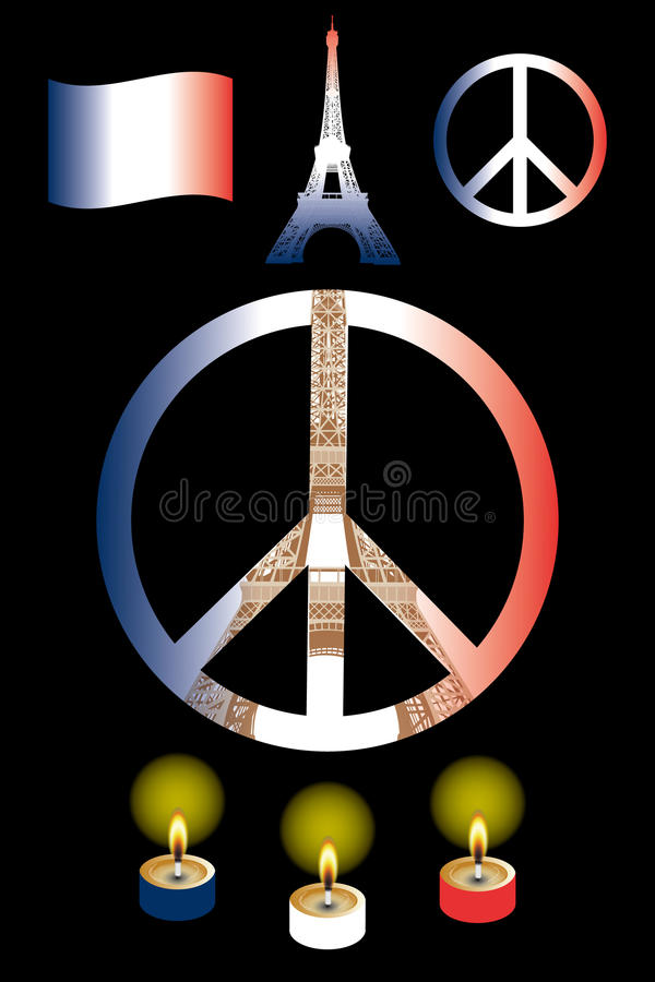 Peace for Paris. Due the terrible attacks to paris in 2015 - vector signs of peace and hope, on black without text stock illustration