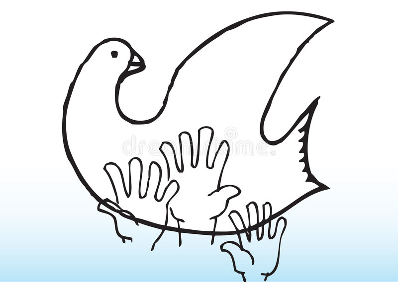 peace pigeon reach 库存例证