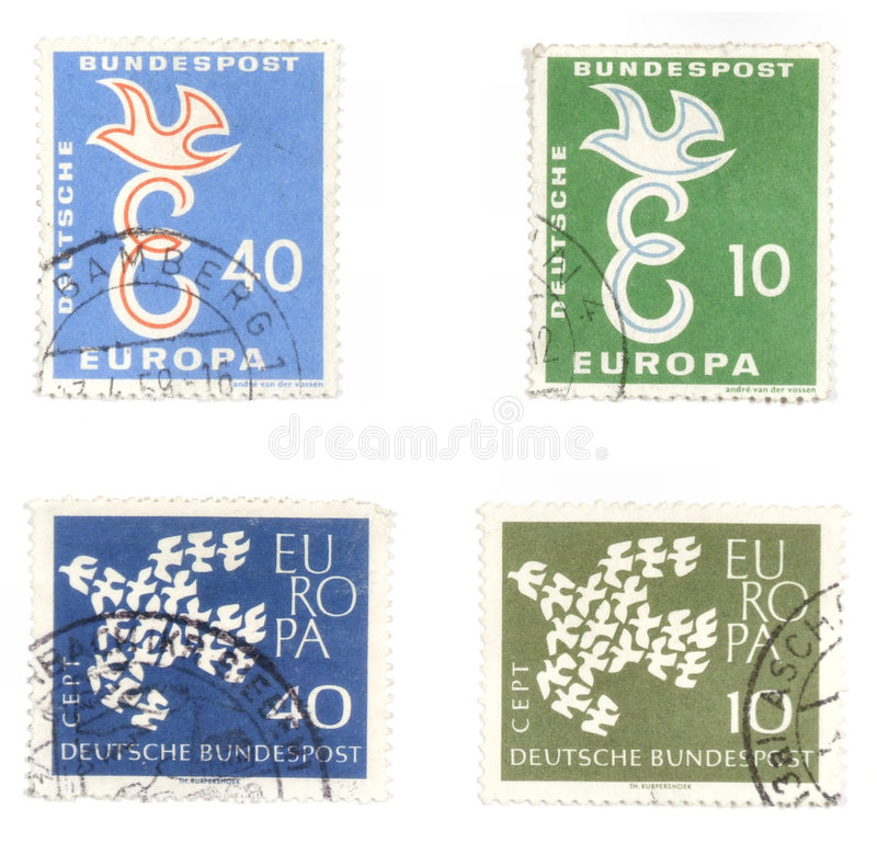 Peace post stamps from Germany. Obsolete postage stamps from Germany. Old collectible post stamps show European unity and peace stock photo