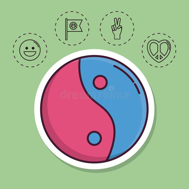 Peace related icons. Yin yang and peace related icons over green background colorful design vector illustration stock illustration