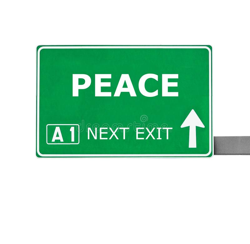 PEACE road sign isolated on white stock photography