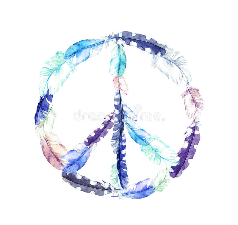 Peace sign - bird feathers. Vintage watercolor. Peace sign with bird feathers. Vintage watercolor stock photo