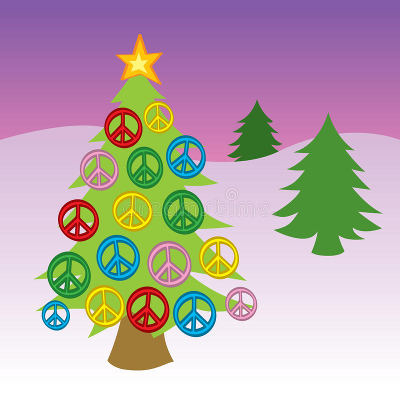 Peace Sign Christmas Tree Stock Vector Illustration Of Ornaments