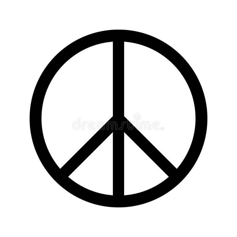 Peace sign circle black white isolate vector vector illustration