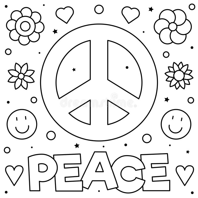 peace sign coloring page black white vector illustration