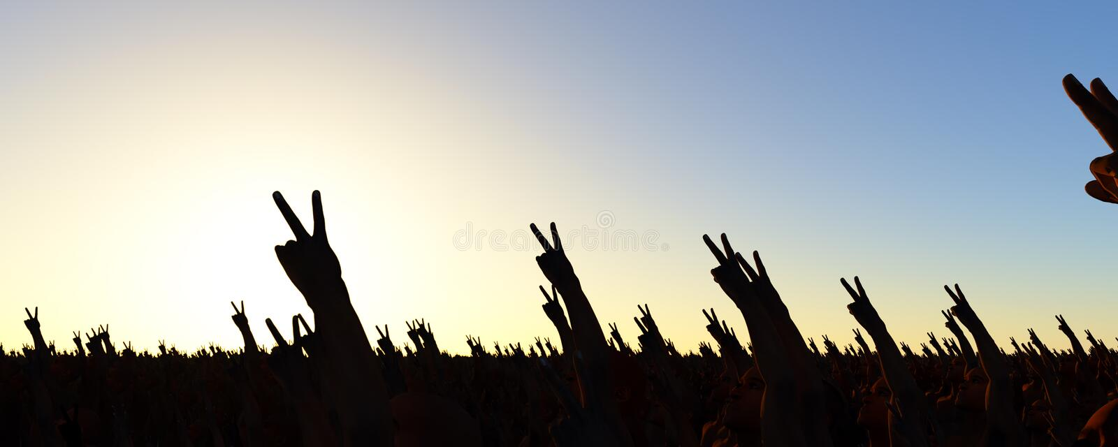 Peace sign. Crowd giving the peace sign vector illustration