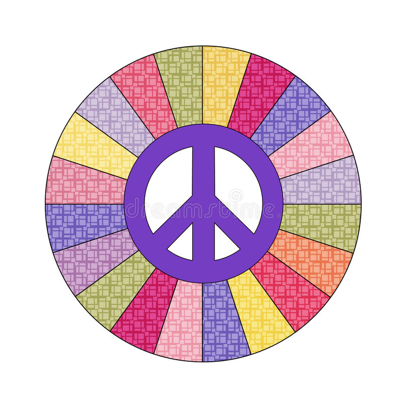 Peace sign. Decal with patterened color wheel royalty free illustration