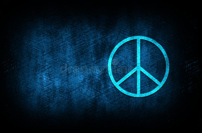 Peace sign icon abstract blue background illustration digital texture design concept. Peace sign icon abstract blue background illustration dark blue digital stock photos