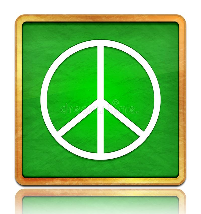 Peace sign icon chalk board green square button slate texture wooden frame concept isolated on white background with shadow. Reflection chalkboard illustration stock illustration
