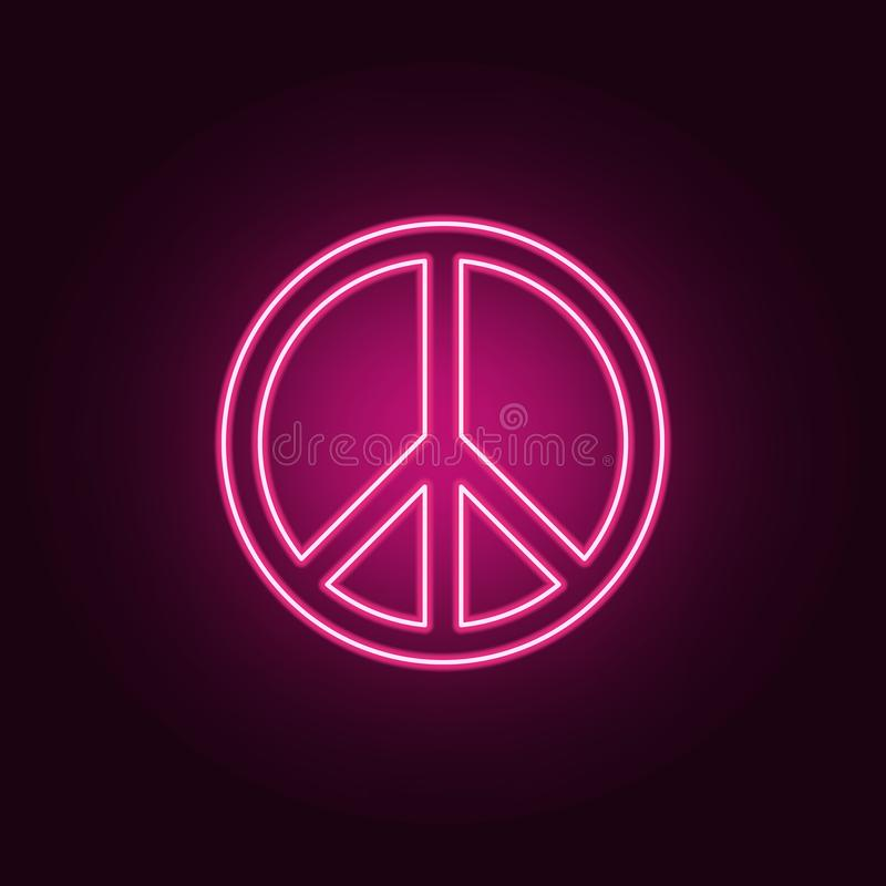 peace sign icon. Elements of Web in neon style icons. Simple icon for websites, web design, mobile app, info graphics stock illustration