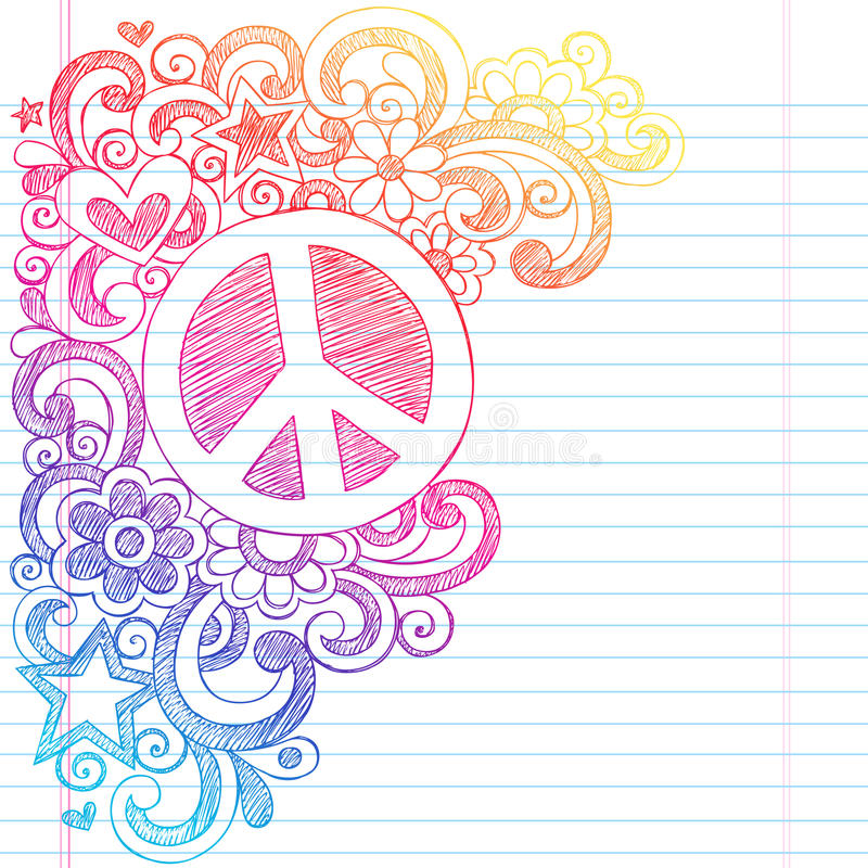 Peace Sign Sketchy Doodles Back to School Vector I stock illustration