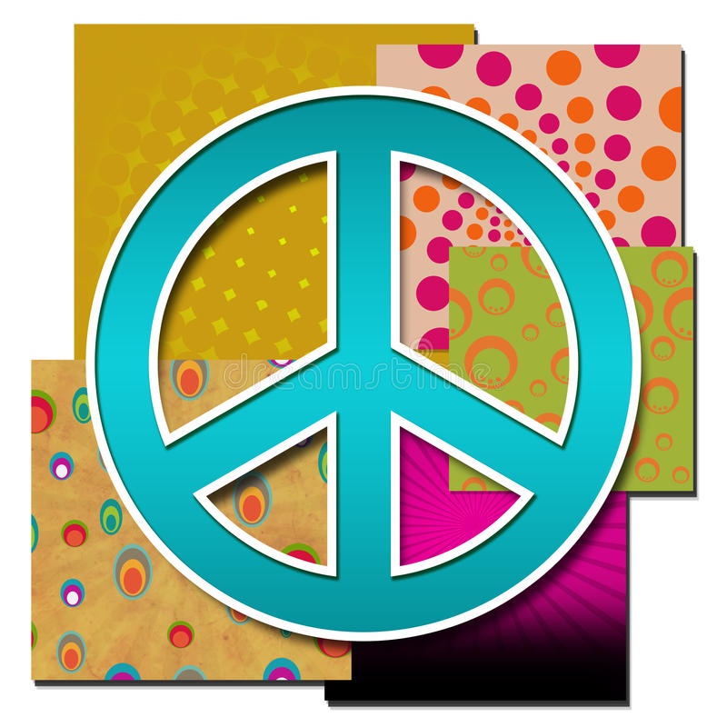 Peace Sign Over Various Colourful Backgrounds Stock Illustration