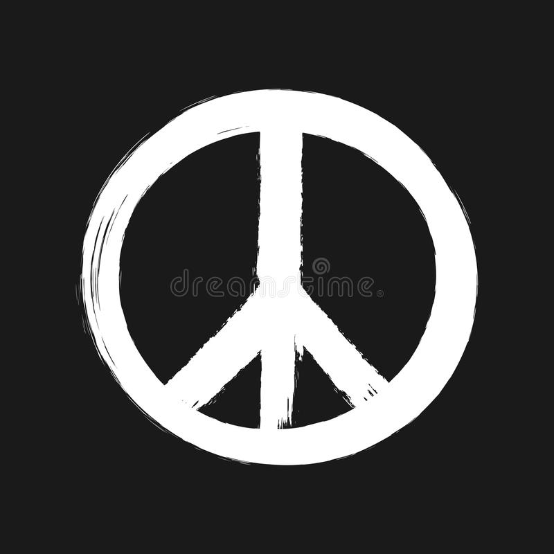Peace sign painted brush. stock illustration