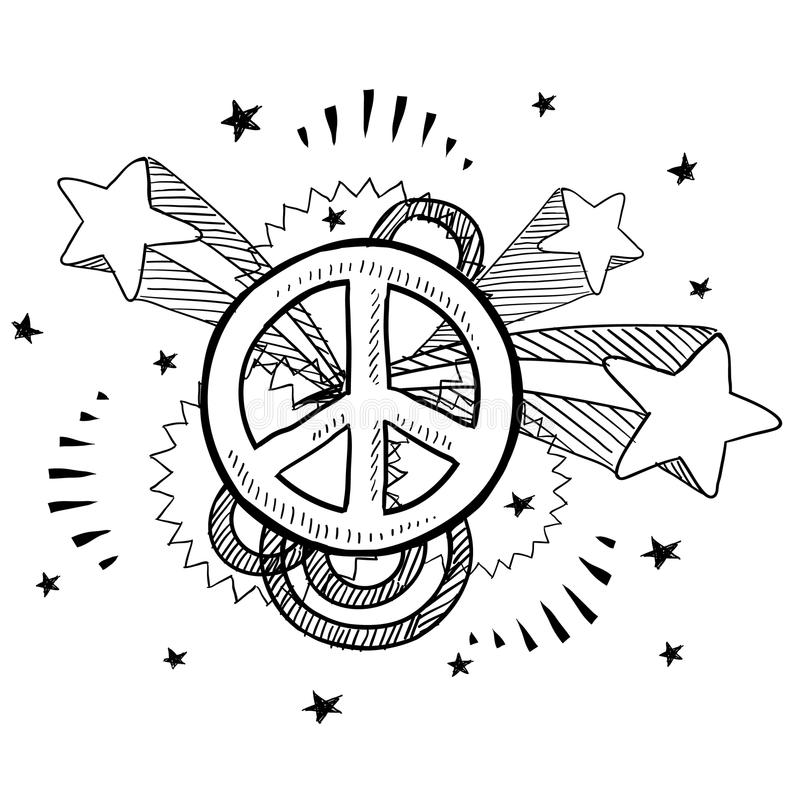 Peace sign pop explosion sketch. Doodle style peach sign with 1970s pop explosion background sketch in vector format royalty free illustration