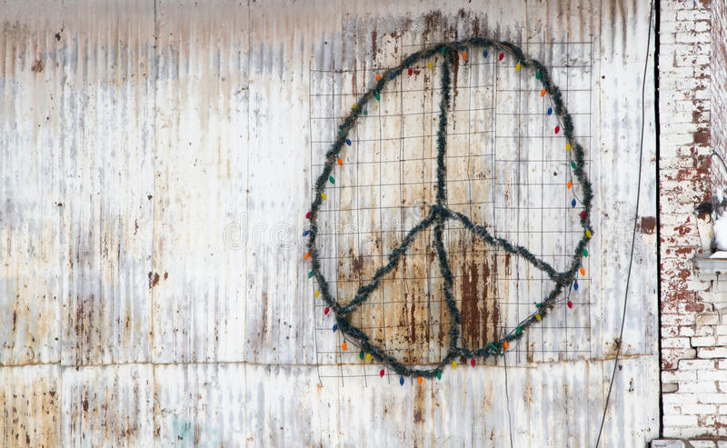 Peace Sign on the side of a building royalty free stock photography