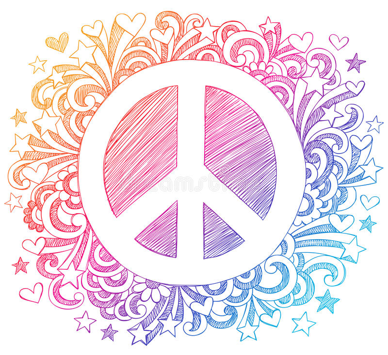 Peace Sign Sketchy Doodle Vector stock illustration