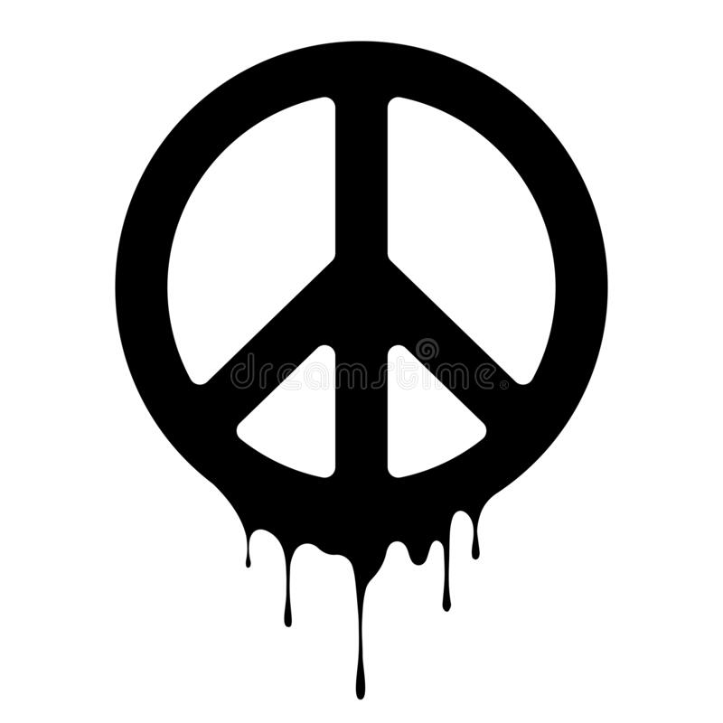 Free Peace Sign. Vector Peace Icon. Drips Of Paint. Peace Print Stock Image - 189624861