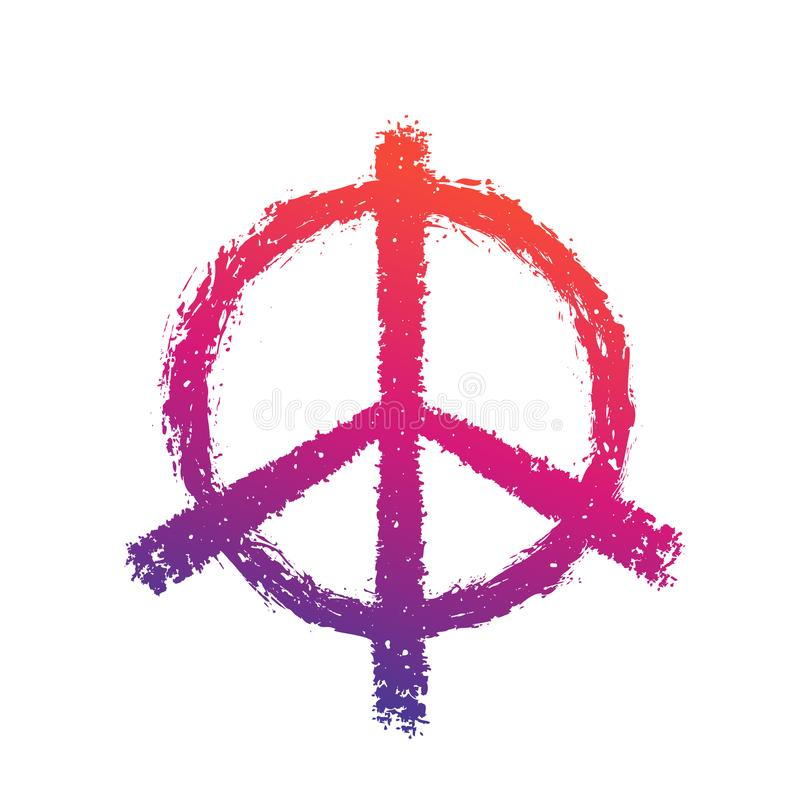 Peace sign on white royalty free illustration
