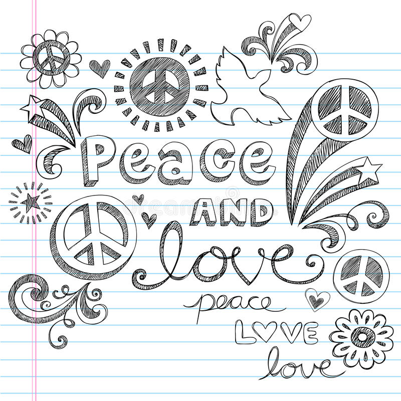 Peace Signs & Love Sketchy Doodles Vector royalty free illustration