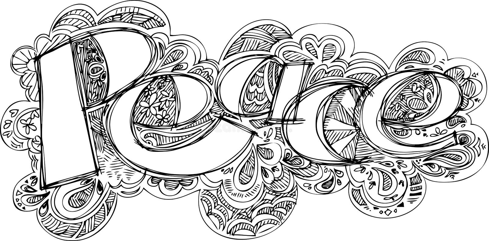 Coloring PEACE sketched doodles vector royalty free stock photo