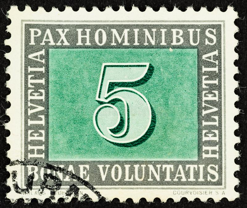 Peace Stamp from Switzerland 1945. SEATTLE WASHINGTON - June 24, 2019: 5 centime Swiss Peace Stamp issued on May 9, 1945 to celebrate the surrender of Germany royalty free stock image