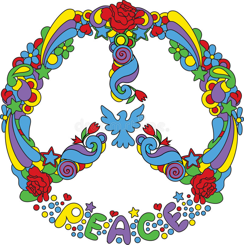 Peace symbol. With flowers and stars pop-art style stock illustration