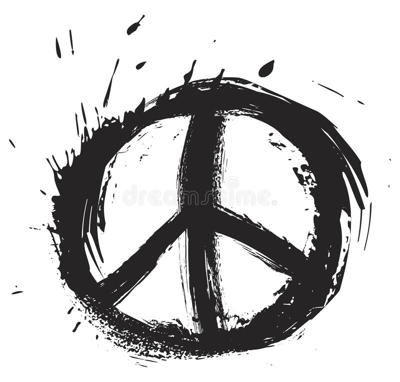 Peace symbol. Black peace symbol created in grunge style royalty free illustration