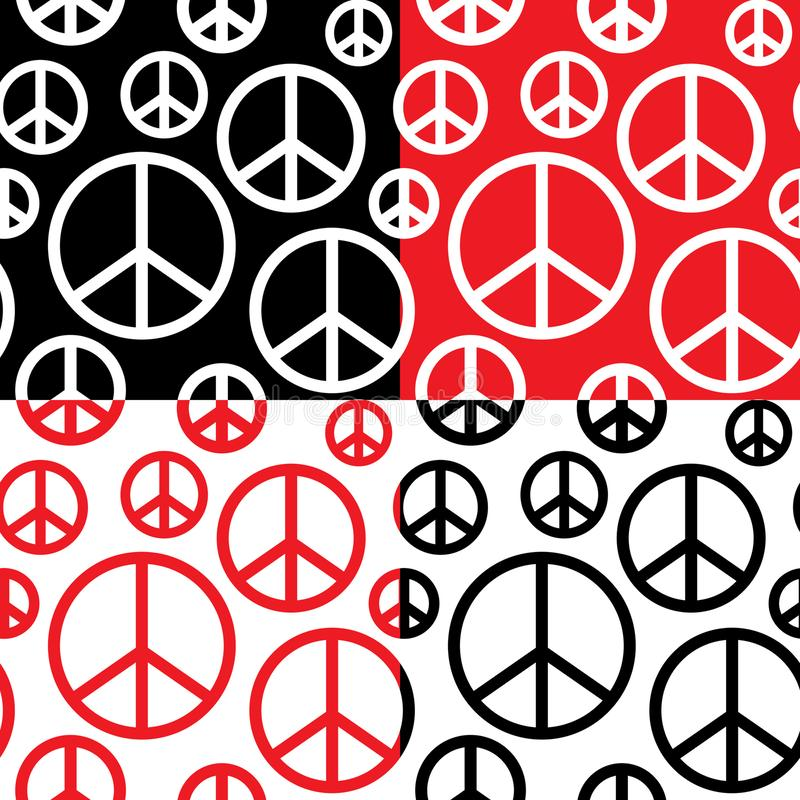 Peace Symbol with different color. There are 4 color variations with light and dark backgrounds. All of them contain peace symbols that can be used as a seamless stock illustration