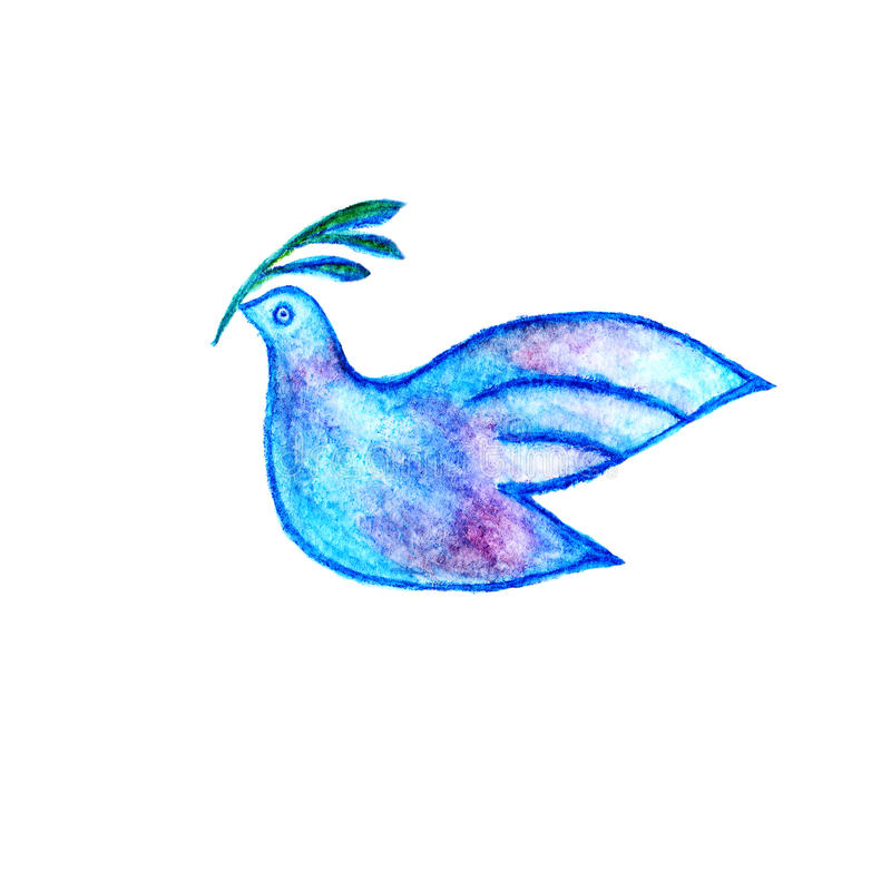 peace symbol dove with olive branch stock illustration