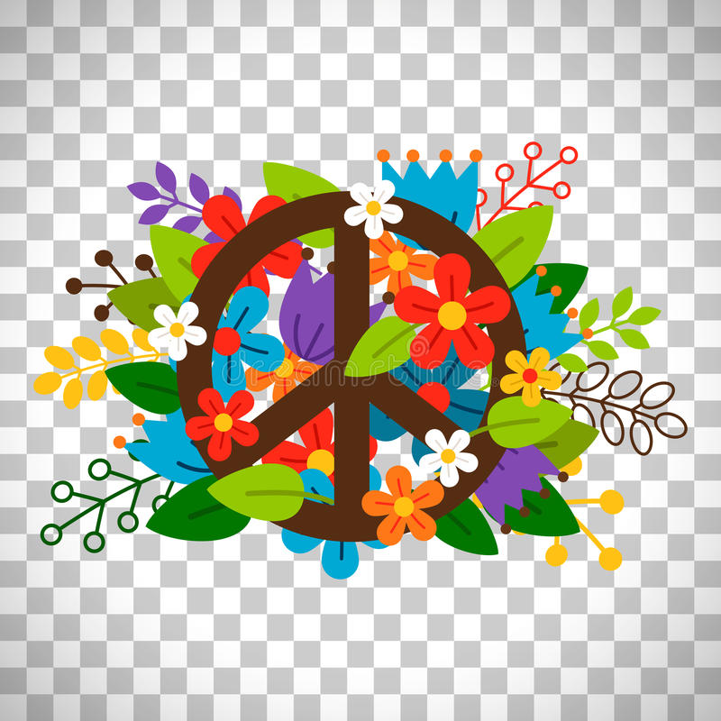 Peace symbol with flowers. Vector on transparent background stock illustration