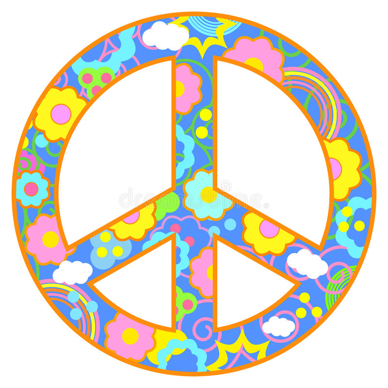 Peace Symbol Happy Theme. Peace symbol with flowers, clouds, swirls in a happy color theme. Has blue background and orange border vector illustration