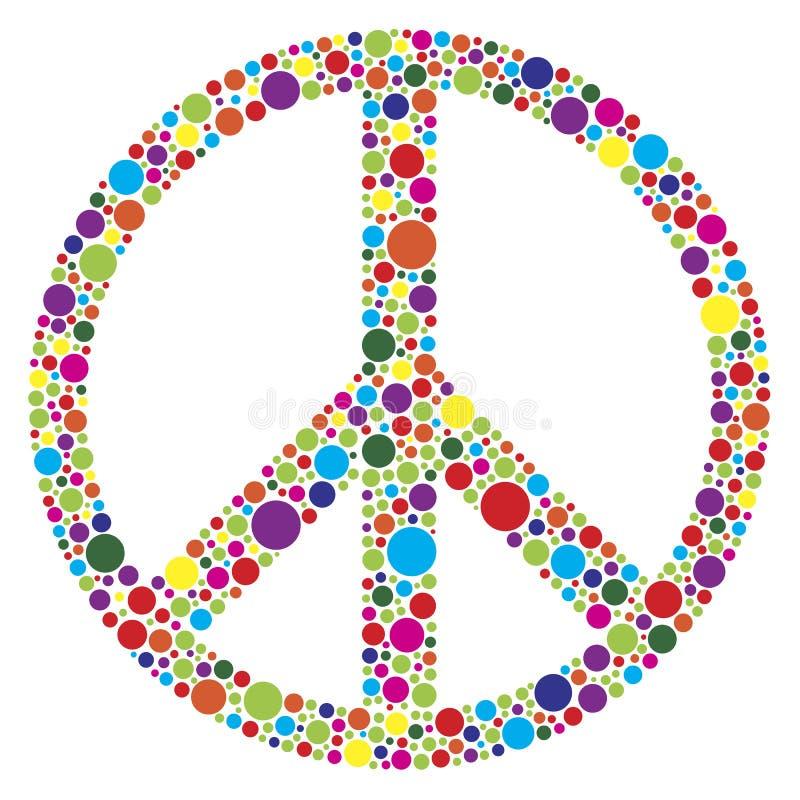 Peace Symbol With Polka Dots Illustration Stock Image