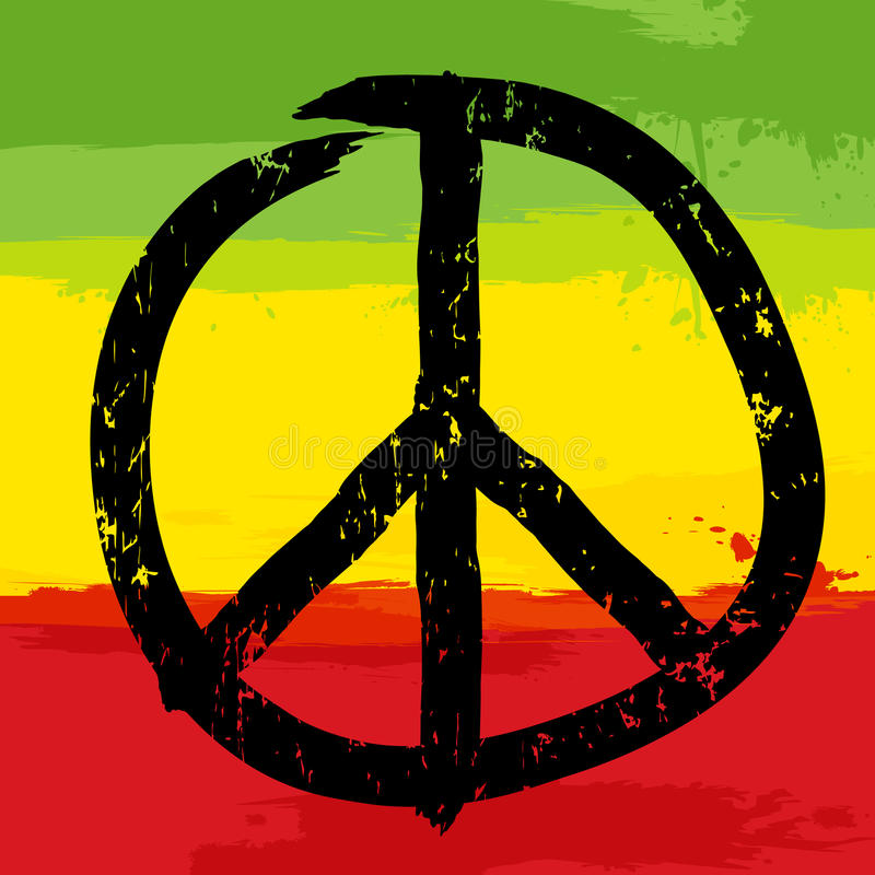 Peace Symbol And Rastafarian Colors In Background Stock Vector