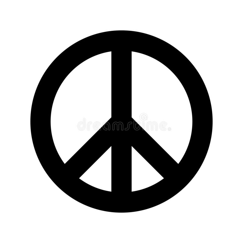 Peace symbol. Simple flat vector icon. Black sign on white backround royalty free illustration