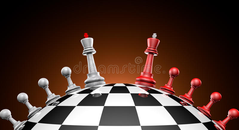 Peace talks. Chess red and gray on the chess field (symbol-political dialogue stock illustration