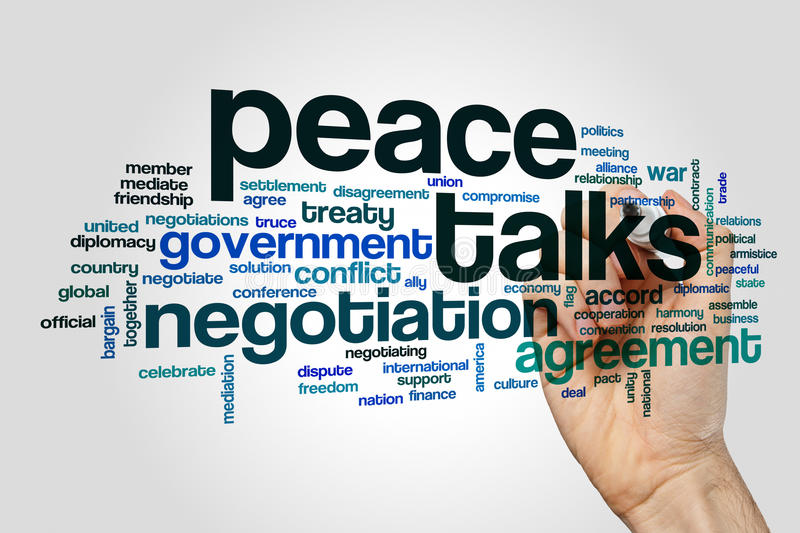 Peace talks word cloud. Concept on grey background stock photography