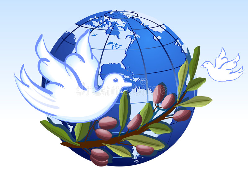 Peace To The Earth With White Doves Stock Photos
