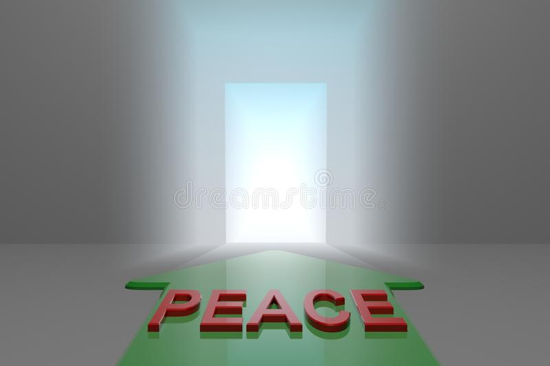 Peace to the open gate. Green arrow with peace word front of the open gate , 3d rendered stock illustration