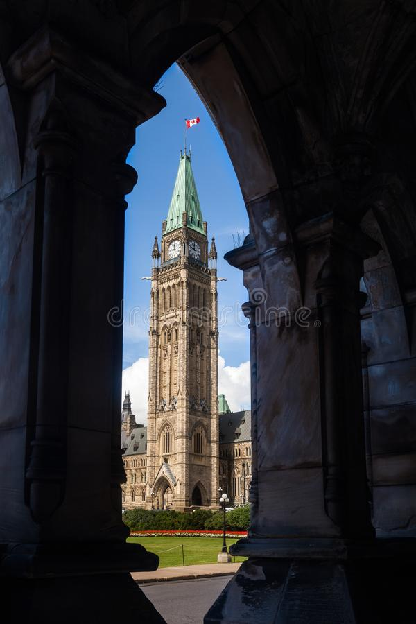 The Peace Tower, Parliament Hill, Ottawa. View of the Peace Tower on top of Parliament Hill, Ottawa, Canada. The tower fronts the Central Block, home to the stock photos