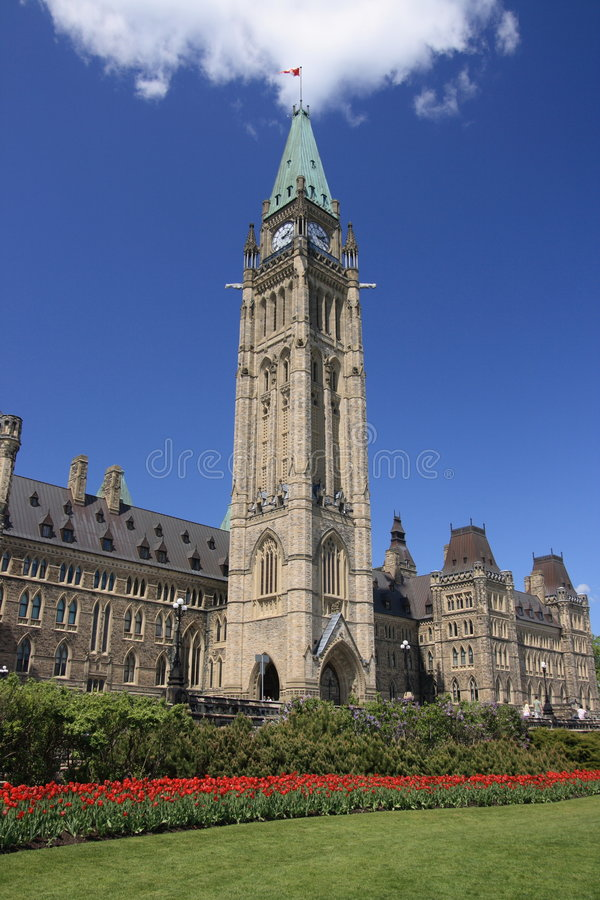 Download Peace Tower During Spring stock image. Image of stone - 2485697