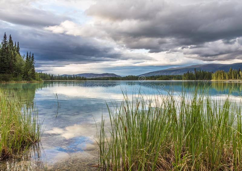 Forest and scattered cloud reflected in clear, calm Boya Lake. Peace and tranquility are found in this calming image of Boya Lake, along the Cassiar Highway in royalty free stock photography