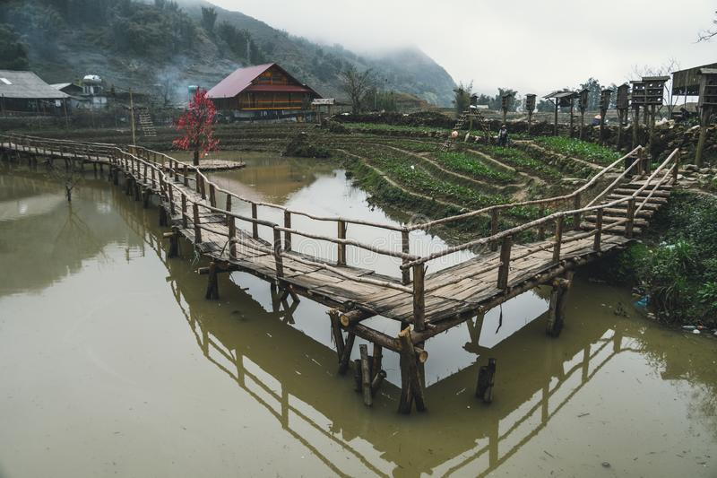Peaceful atmosphere of traditional farmhouses, a pond, rice field, and bamboo bridge inside the Cat Cat village, Sa Pa, Vietnam royalty free stock photos