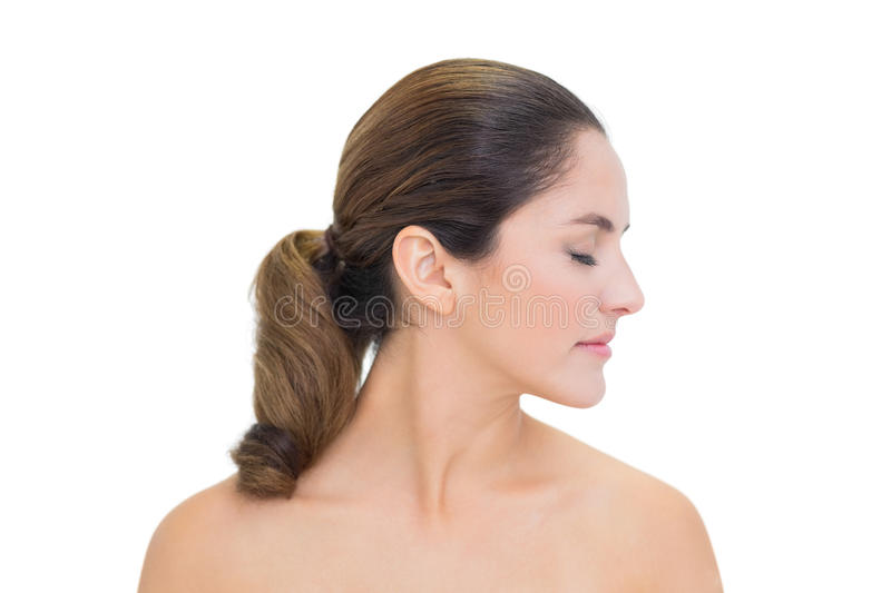 Download Peaceful Bare Brunette Turning Head Right With Closed Eyes Stock Photo - Image: 34396964